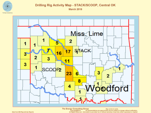 US Drilling Rig Activity Map-STACK/SCOOP, Central Oklahoma