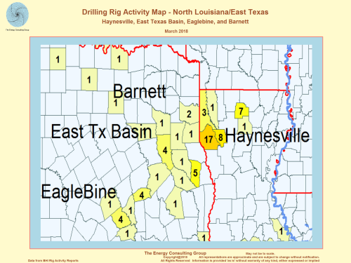US Drilling Rig Activity Map-Haynesville, East Texas, and North Louisiana