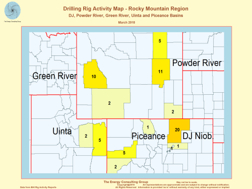 US Drilling Rig Activity Map-Rocky Mountain Region