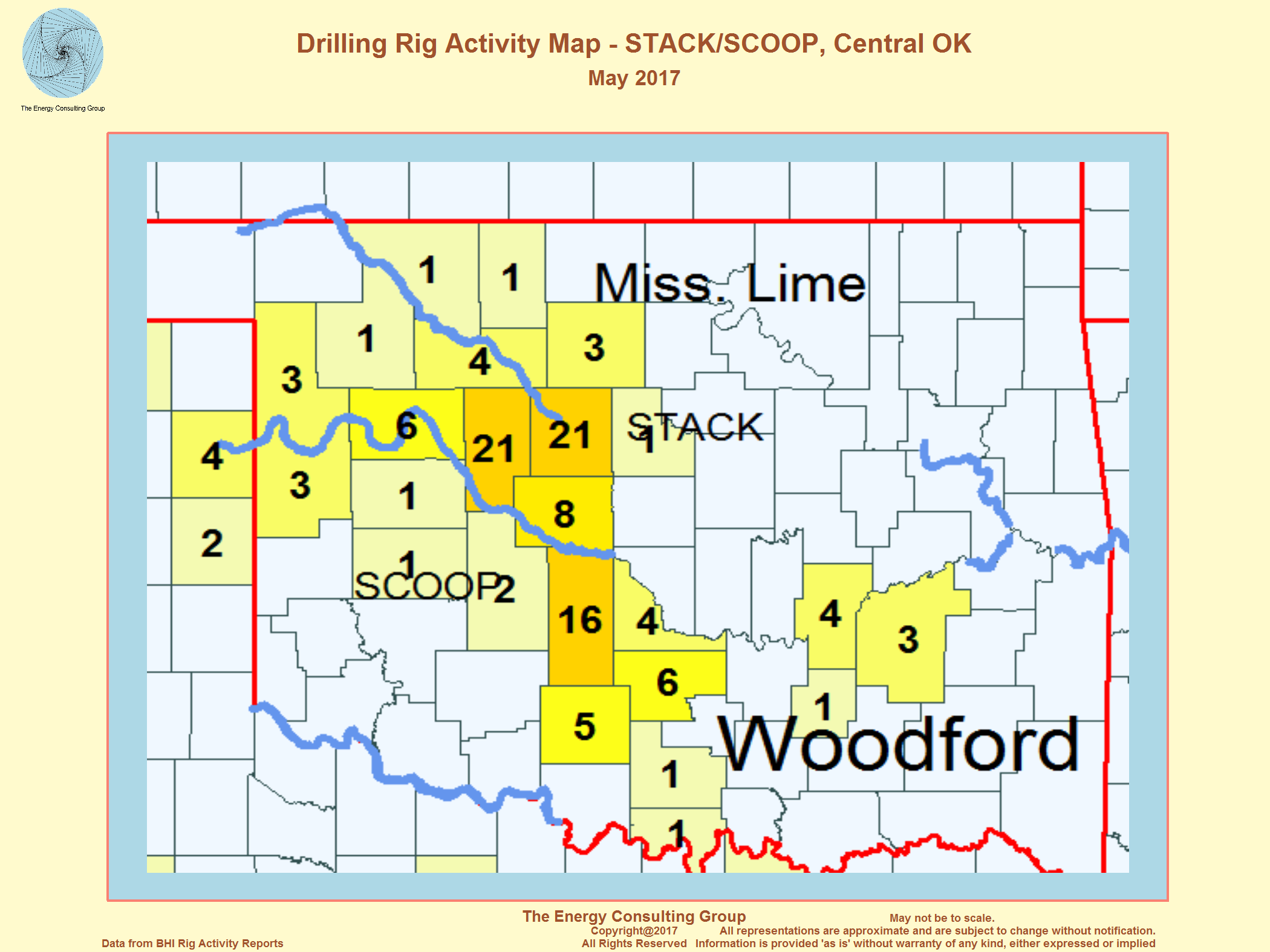 Us Drilling Rig Activity Map Stack Scoop Central Oklahoma May 2017