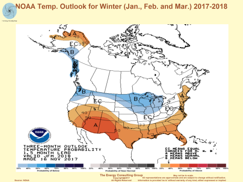 NOAA Temperature Outlook for the 2017-2018 winter (Jan, Feb, March)
