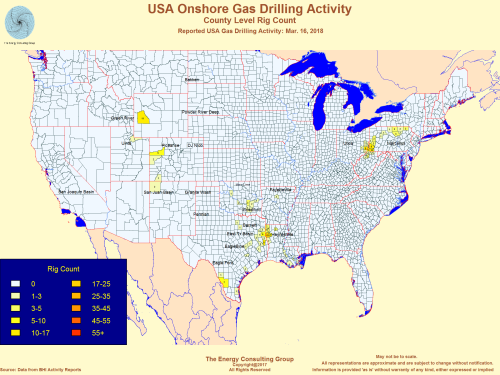 Map of USA Onshore Gas Drilling Activity