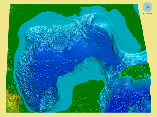 Bathymetry (depth ) map for the Gulf of Mexico