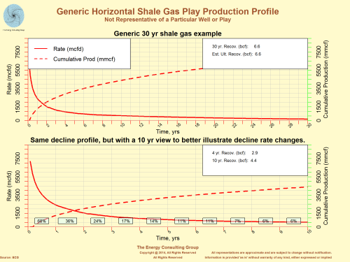 Generic Horizontal Shale Gas Play Production Profile