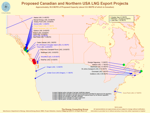 Map image for annouced LNG projects in Canada and northern USA