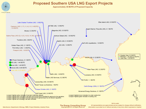 Map image for annouced LNG projects in southern USA