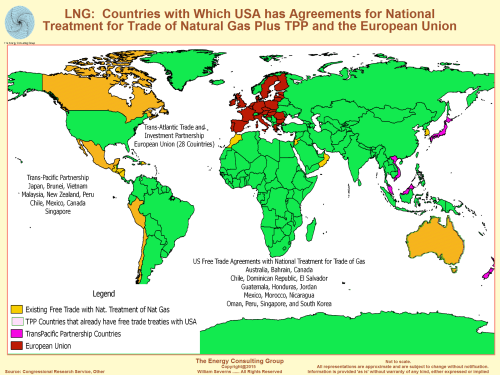 Map Image of Countries with Which USA has Free Trade Agreements Plus Trans-Pacifica Partnership (TPP) and Trans-Atlantic Trade and Investment Partnership Countries
