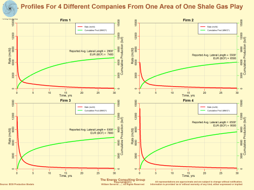 Production Profiles for 4 Different Companies From One Area of One Shale Gas Play