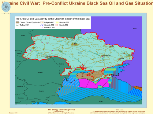 Ukraine Map: pre-crisis Black Sea oil and gas concessions, Crimea Basin