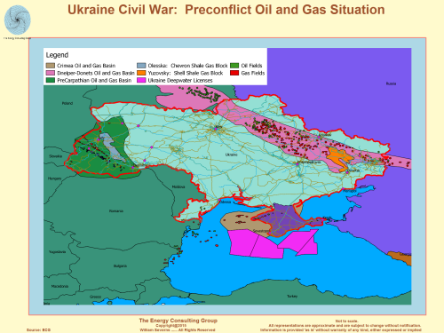 ukraine: oil and gas fields map, olesska, yuzovsky shale blocks